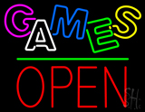 Games Block Open Green Line LED Neon Sign