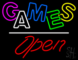 Games Open White Line LED Neon Sign