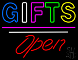 Gifts Block Open White Line LED Neon Sign