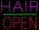Hair Block Open Green Line LED Neon Sign