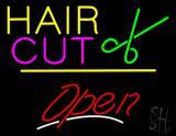Hair Cut Logo Open Yellow Line LED Neon Sign