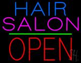 Hair Salon Block Open Green Line LED Neon Sign