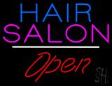 Blue Hair Salon Open White Line LED Neon Sign