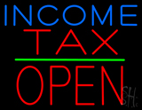 Income Tax Block Open Green Line LED Neon Sign