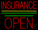 Red Insurance Open Block Yellow Green Line LED Neon Sign