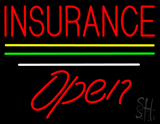 Insurance Open Yellow Green White Line LED Neon Sign