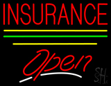 Red Insurance Open Yellow Line LED Neon Sign