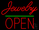 Cursive Jewelry Green Line Open Neon Sign