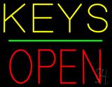 Keys Block Open Green Line LED Neon Sign