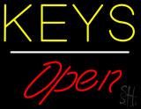 Keys Script1 Open White Line LED Neon Sign