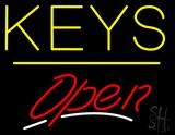 Keys Script2 Open Yellow Line LED Neon Sign