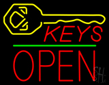 Keys Logo Block Open Green Line LED Neon Sign