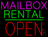 Mailbox Rental Block Open Green Line LED Neon Sign