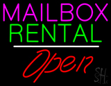 Mailbox Rental Open White Line LED Neon Sign