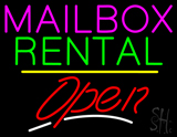 Mailbox Rental Open Yellow Line LED Neon Sign
