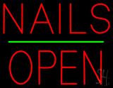 Red Nails Block Open Green Line LED Neon Sign