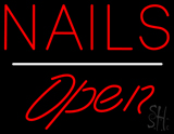 Red Nails Open White Line LED Neon Sign
