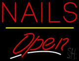 Red Nails Open Yellow Line LED Neon Sign