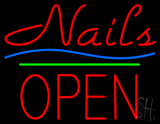 Nails Block Open Green Line LED Neon Sign