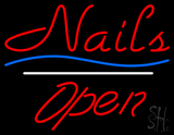 Red Nails Open White Line Blue Waves LED Neon Sign