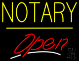 Notary Open Yellow Line LED Neon Sign