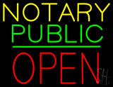 Notary Public Block Open Green Line LED Neon Sign