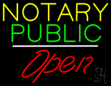 Notary Public Open White Line LED Neon Sign
