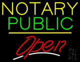 Notary Public Open Yellow Line LED Neon Sign
