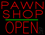 Pawn Shop Block Open Green Line LED Neon Sign