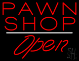 Pawn Shop Open White Line LED Neon Sign