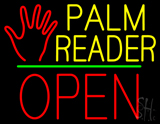 Palm Reader Logo Block Open Green Line LED Neon Sign