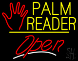 Palm Reader Logo Open Yellow Line LED Neon Sign