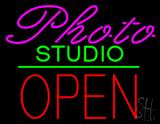 Photo Studio Open Green Line LED Neon Sign