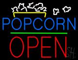 Popcorn Logo Open Block Green Line LED Neon Sign