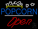 Popcorn Logo Open White Line LED Neon Sign