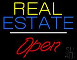 Real Estate Slant Open White Line LED Neon Sign