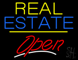 Real Estate Open Yellow Line Neon Sign
