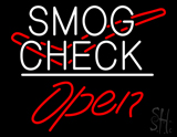 Smog Check Logo Open White Line LED Neon Sign