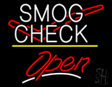Smog Check Logo Open Yellow Line LED Neon Sign