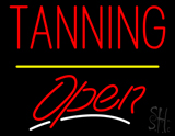 Red Tanning Open Yellow Line LED Neon Sign