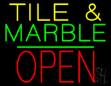 Tile and Marble Block Open Green Line LED Neon Sign