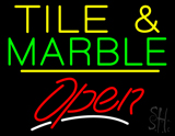 Tile and Marble Script2 Open Yellow Line LED Neon Sign