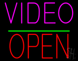 Video Open Block Green Line LED Neon Sign