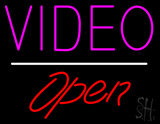 Video Open White Line LED Neon Sign