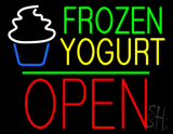 Frozen Yogurt Block Open Green Line LED Neon Sign