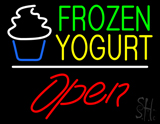 Frozen Yogurt Open White Line LED Neon Sign