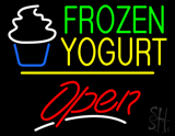 Frozen Yogurt Open Yellow Line LED Neon Sign