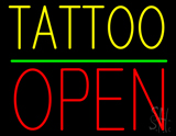 Yellow Tattoo Block Open Green Line LED Neon Sign