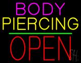 Body Piercing Block Open Green Line LED Neon Sign