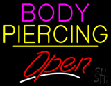 Body Piercing Open Yellow Line LED Neon Sign